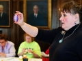 Cieft Curator Sandy Schwan presents a finished kraslice egg at the Castle Museums March 5, 2013 Lunch and Learn
